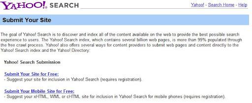 yahoos Đưa website của bạn vào các công cụ tìm kiếm