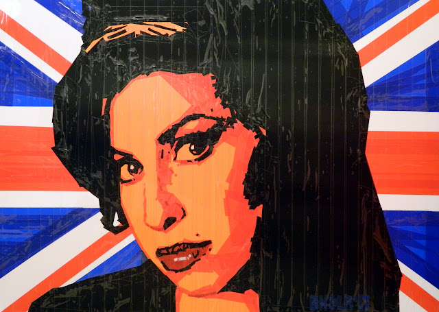 bronya & sonya benigeler  tape art portrait of Amy Winehouse Эми Вайнхаус