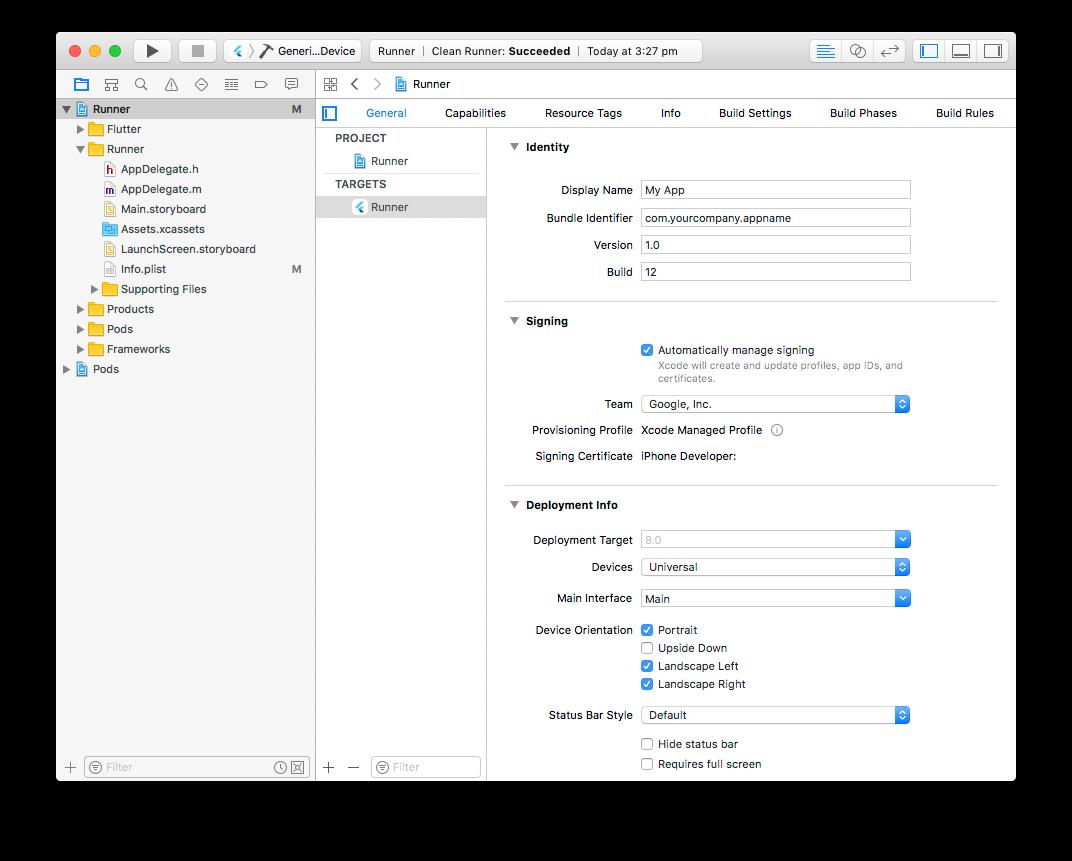 Ustawienia projektu Xcode