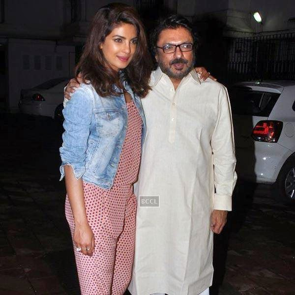 Priyanka Chopra poses with Sanjay Leela Bhansali during the wrap-party of Bollywood movie Mary Kom, held at latter's residence on July 26, 2014.(Pic: Viral Bhayani)