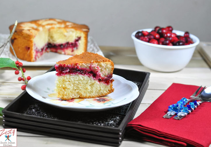Cranberry Vanilla Coffee Cake - Zesty South Indian Kitchen