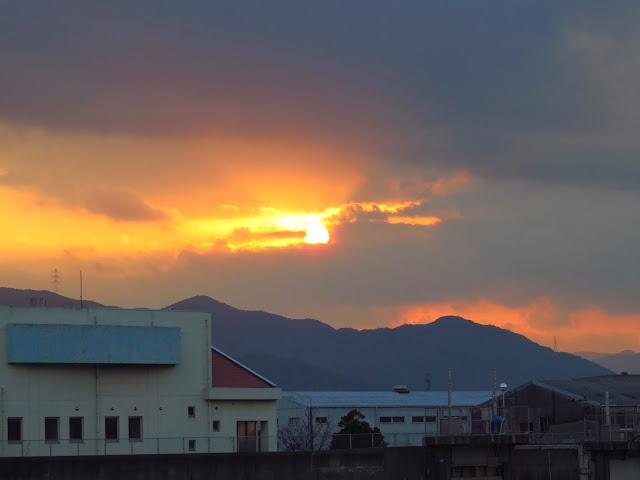 曽根干潟の夕日-1