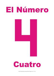Lámina para imprimir el número cuatro en color magenta