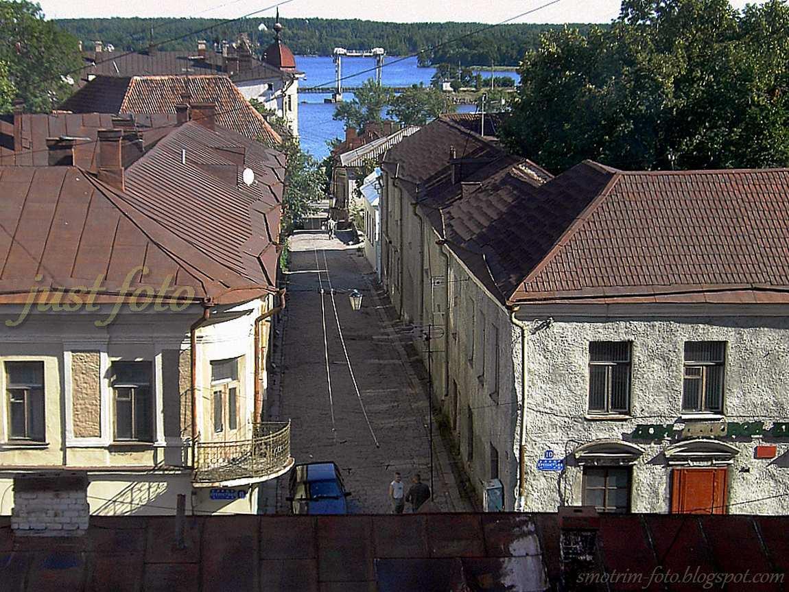 С Часовой башни видно старые улочки Выборга фото