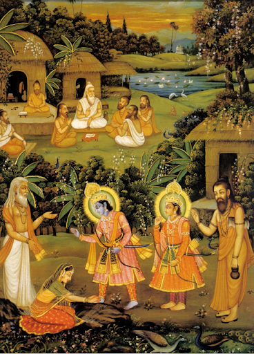 Prince Rama liberating Ahalya from curse