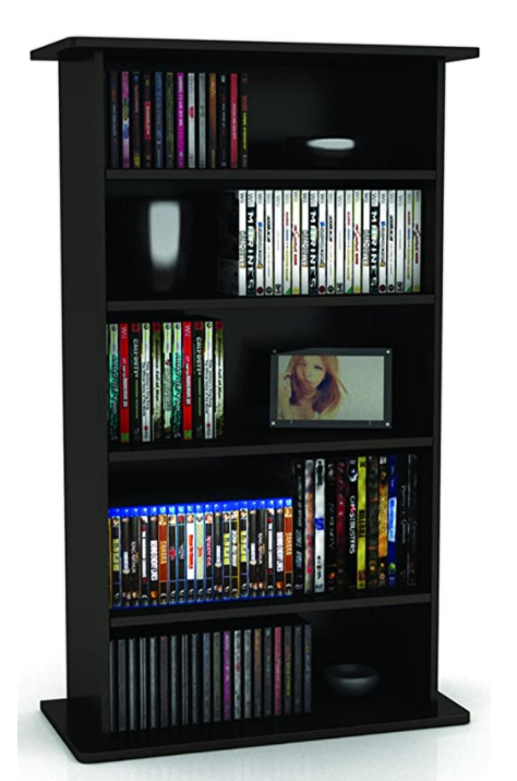 bookcase with DVDs