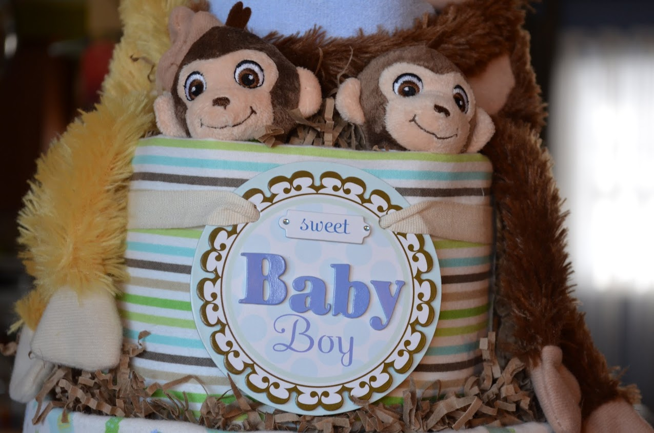 Sweet Baby boy  moneky diaper cake