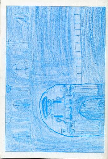 Contraportada Revista Pancrudo nº4 (2000). Dibujo Puerta de la Iglesia de Pancrudo, de Alvaro Benedicto Aznar (9 años)