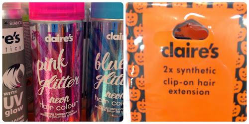 Otra tienda donde podremos encontrar accesorios para  Halloween es Claires. Estos son sprays de colores y extensiones para el pelo.