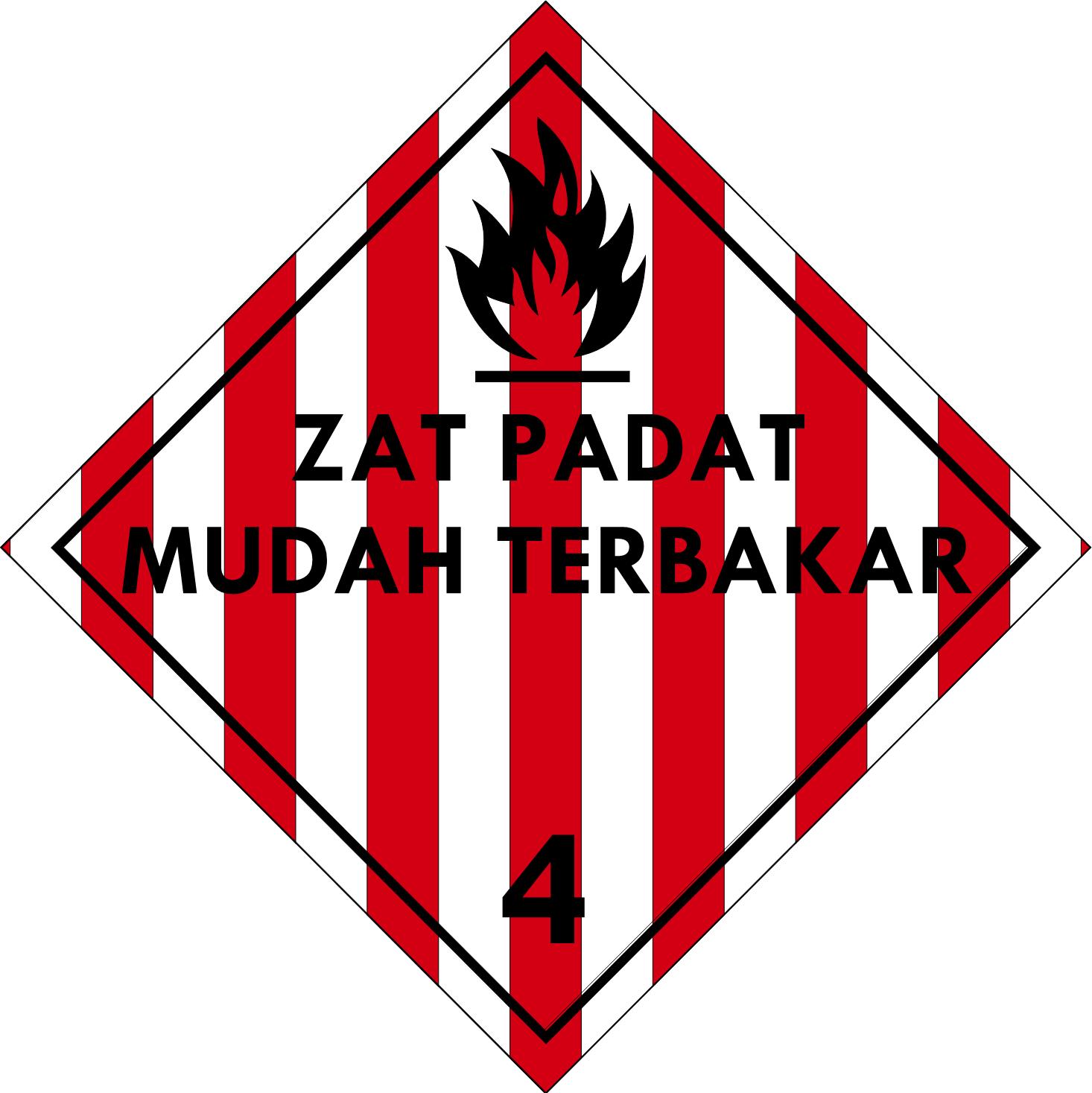 Label (Simbol) Transportasi Bahan (Material) Zat Padat Mudah Terbakar 4.1