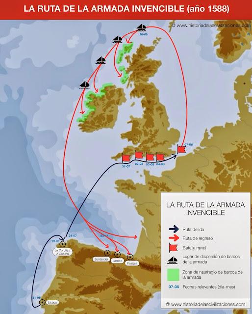 La Ruta de la Armada Invencible. Mapa: elaboración propia. ©www.historiadelascivilizaciones.com