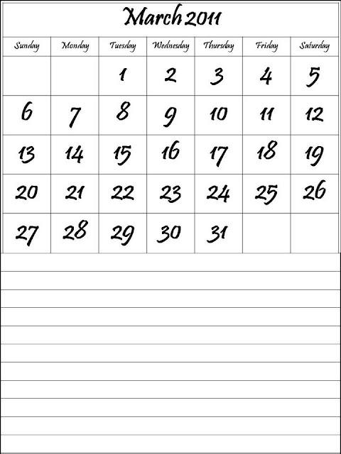 calendar 2011 template march. Calendar 2011 March :