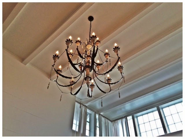 Beautiful chandelier.  2014 Southern Living Idea House in Palmetto Bluff, SC | The Lowcountry Lady