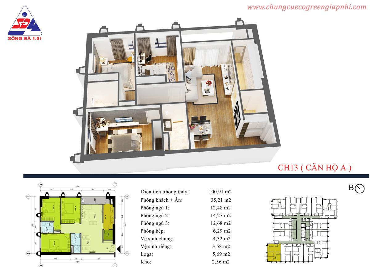 Thiết kế chung cư Eco Green tower số 1 Giáp Nhị