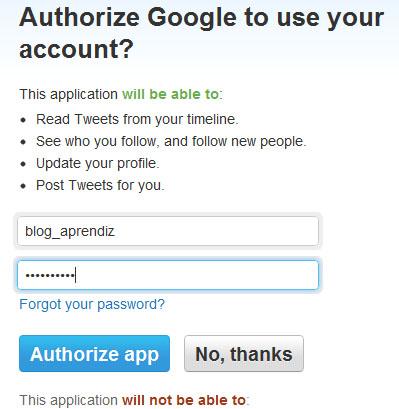 Entre com seu login e senha do Twitter, clicando em Autorizar
