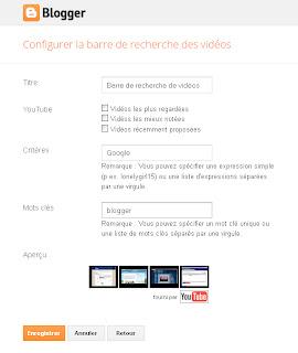 Panneau de configuration du gadget Recherche Vidéos