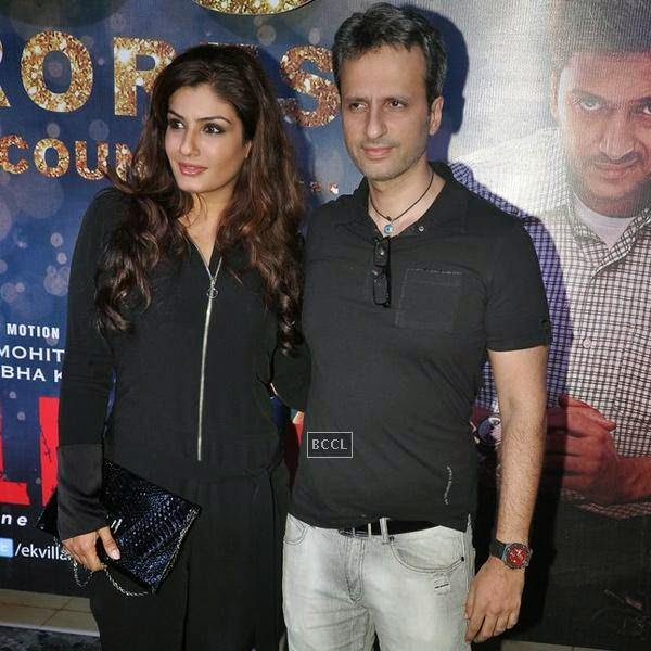 Raveena Tandon and Anil Thadani attend the success party of Bollywood movie 'Ek Villain', held at Ekta Kapoor's residence on July 15, 2014.(Pic: Viral Bhayani)