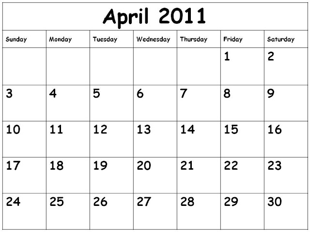 blank 2011 calendar april. Calendar 2011 April black and