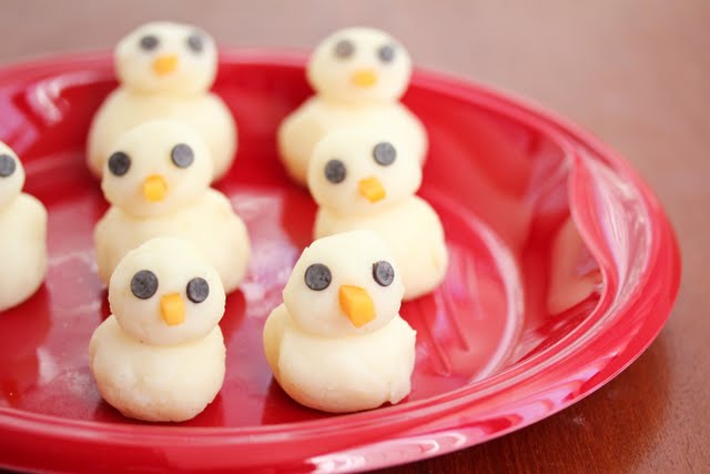Mashed Potato Chicks on a red plate