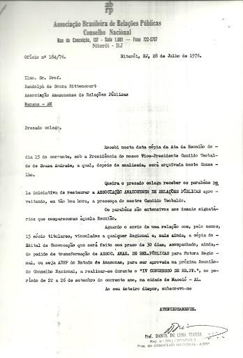 Ofício 184/ 76 Associação Amazonense de Relações Públicas