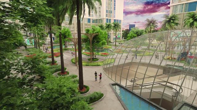 Khuôn viên tràn ngập cây xanh tại chung cư Eco green city