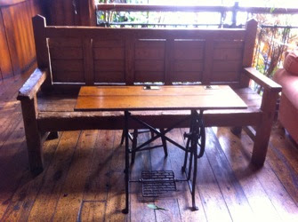 sewing table in a bar