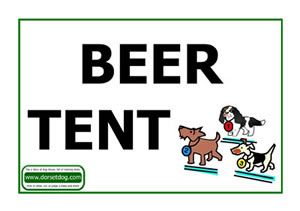 Dog show beer tent A4 sign in Upper case