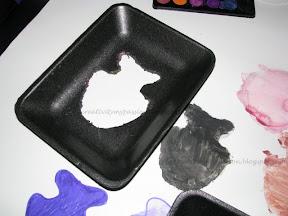 Styrofoam Stencil Painting