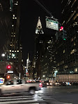 The lit-up Chrysler Building just down the street