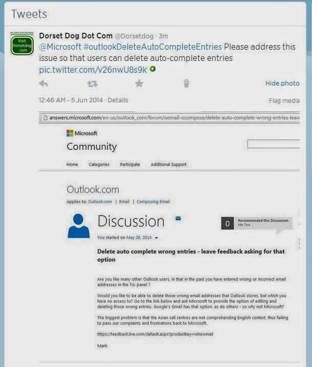 Outlook com Delete auto-complete entries - Dorset Dog - Dog