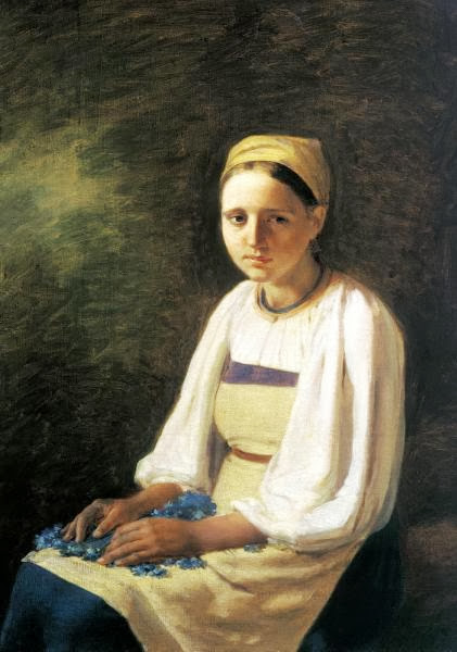 Alexei Venetsianov - Girl with a cornflower