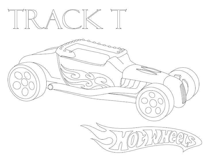 Hot Wheels: Track T  Coloring Page