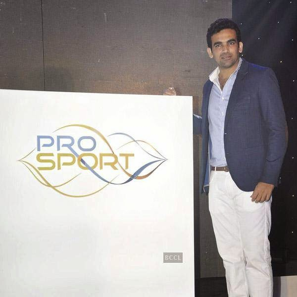 Zaheer Khan clicked on stage during the launch of Pro Sport centre, a fitness training and physiotherapy service centre, held in Mumbai, on July 29, 2014.(Pic: Viral Bhayani)
