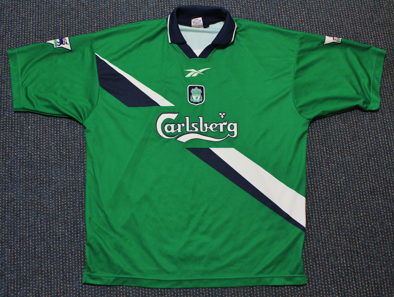 6786891bab1 Reebok Liverpool FC 1999 2000 Away Jersey Official release for 1999 2000  season. With Liverpool FC badge embroodered. Reebokmlogo and sponsor  CARLSBERG heat ...