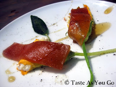Stuffed Zucchini Blossoms with Fresh Cheese and Quince Ate at Los Tamarindos in Los Cabos, Mexico - Photo by Taste As You Go