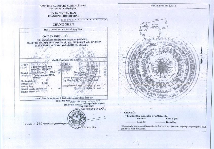 Bán biệt thự 265m2 Thảo Điền, giá 10 tỷ Quận 2 - BT07
