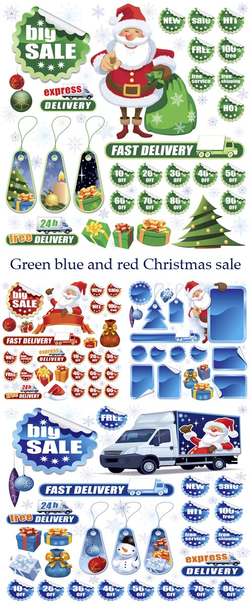 Stock: Green, dark blue and red Christmas labels and stickers for sale