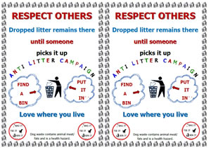Respect others - A5 litter sign - find a bin and put it in