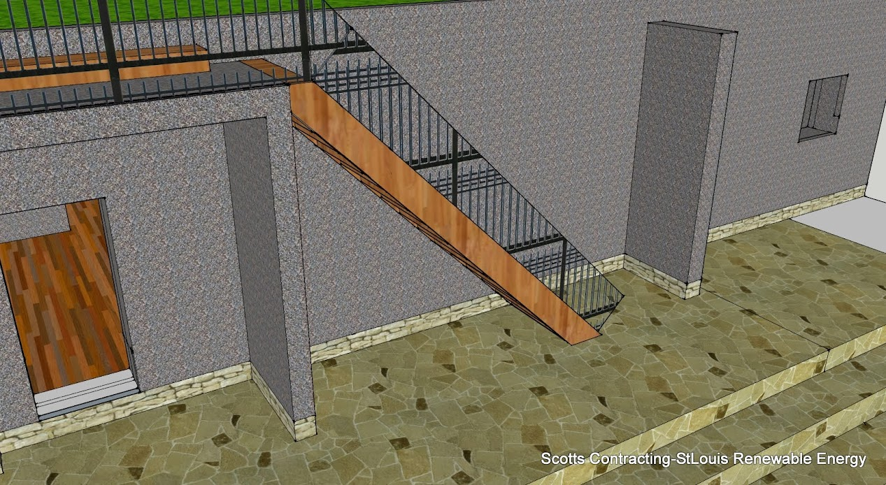 Rear Stair Way for Rooftop Access is also the addition of a Modified Flying Buttress that resists the lateral forces pushing a wall outwards (which may arise from stone vaulted ceilings or from wind-loading on roofs) by redirecting the Lateral Forces to the ground.