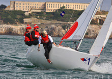 J/22 one-design sailboat- sailng upwind off Alcatraz Island on San Francisco Bay