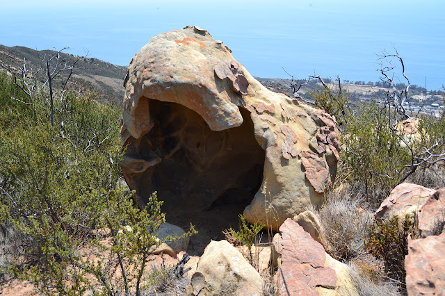 Mariposa Reina behind a hollowed out bit of sandstone