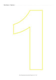 Dibujo para colorear y pintar el número uno en color amarillo