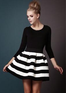 siyah beyaz kombin elbise