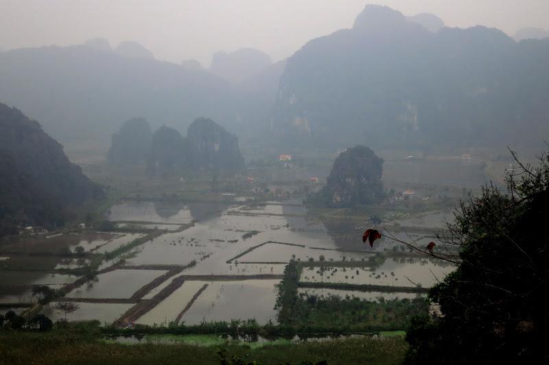 Flooded fields below