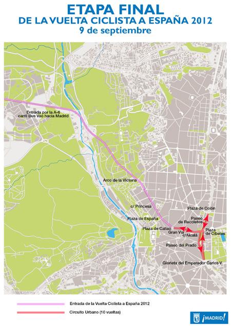 Cortes de tráfico por el final de la Vuelta Ciclista a España 2012