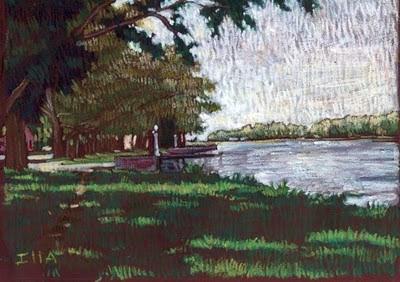 pintura al pastel de un paisaje de una laguna visto desde la costa a la sombra de los árboles