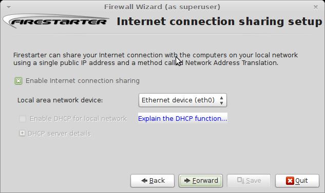 Pilih Jembatan yang digunakan untuk akses internet