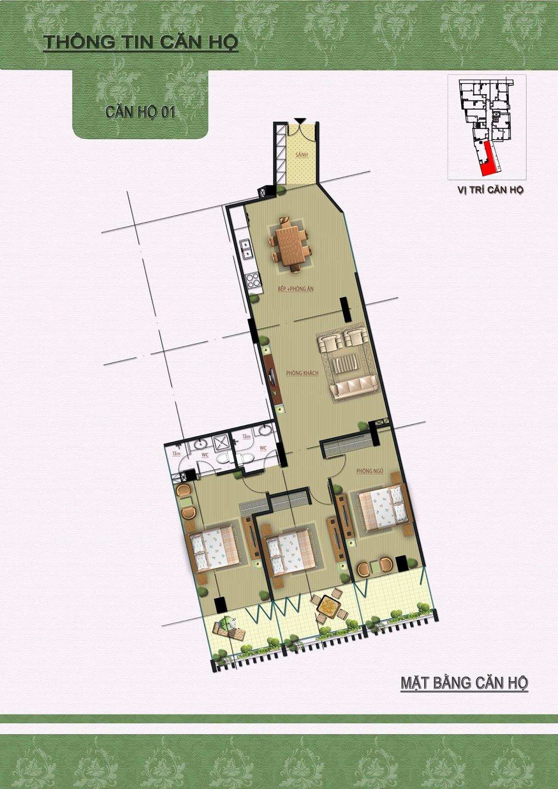 Chi tiết căn 01 dự án Núi Trúc Square