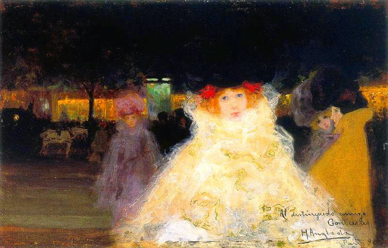 Hermen Anglada-Camarasa - Girl in Paris at Night