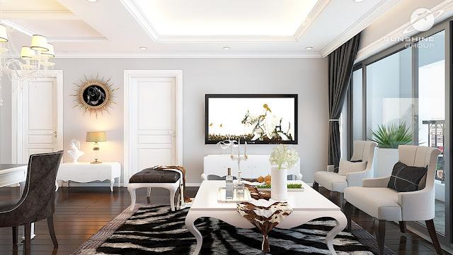 Phòng khách chung cư được thiết thế theo phong cách tân cổ điển pháp. Với màu trắng chủ đạo màu trắng làm tăng phần sang trọng và quý phái cho chủ nhân căn hộ.